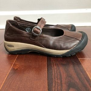 KEEN Brown Leather Mary Jane Buckle Shoes Sz 10.5